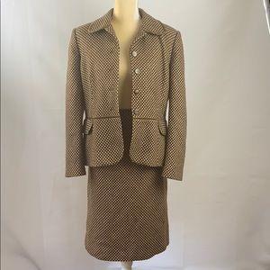 Vintage Brown Knit Skirt Suit  by Le Suit
